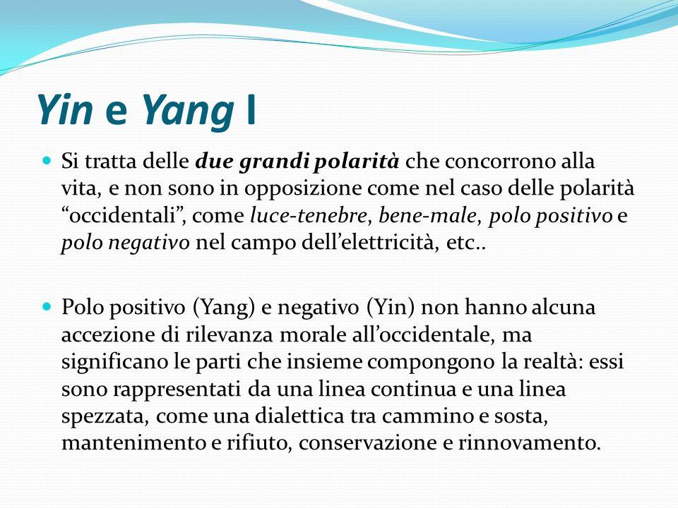 Yin e Yang I Si tratta delle due grandi polarità che concorrono alla vita, e non sono in opposizione come nel caso delle polarità occidentali, come lu