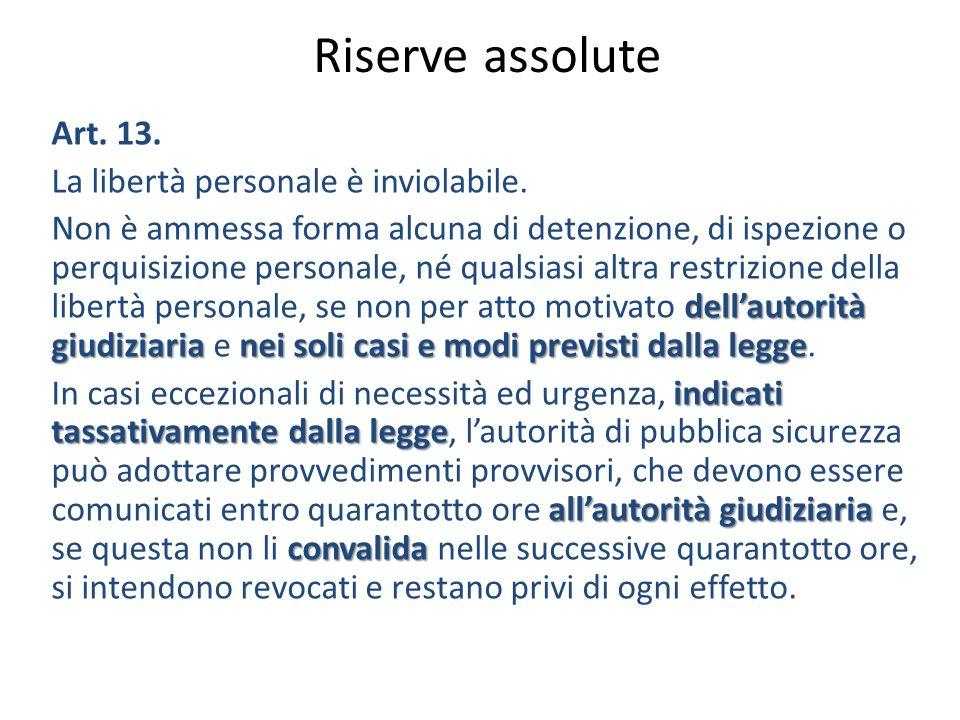 Riserve assolute Art.13. La libertà personale è inviolabile.