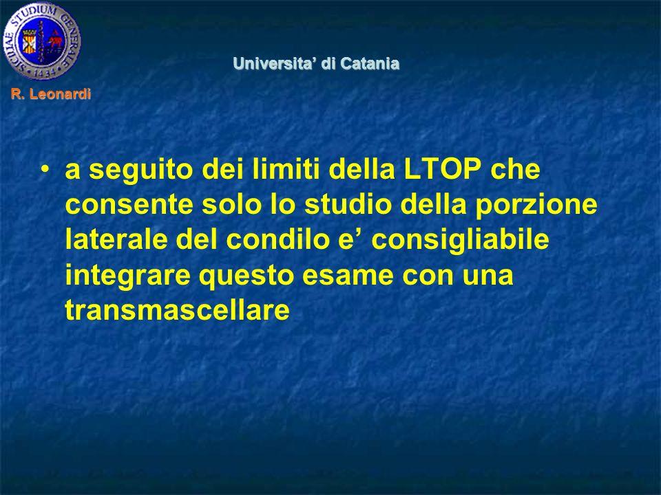 a seguito dei limiti della LTOP che consente solo lo studio della porzione laterale del condilo e consigliabile integrare questo esame con una transmascellare Universita di Catania R.