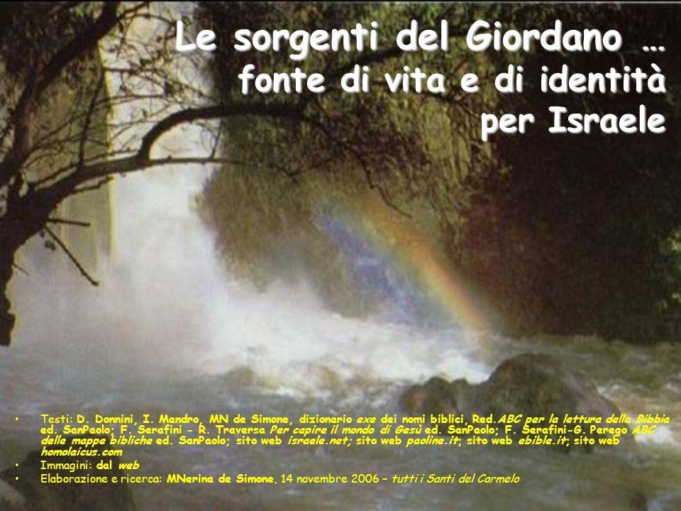 Le sorgenti del Giordano … fonte di vita e di identità per Israele Testi: D. Donnini, I. Mandro, MN de Simone, dizionario exe dei nomi biblici, Red.AB