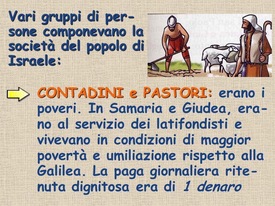 Vari gruppi di per- sone componevano la società del popolo di Israele: CONTADINI e PASTORI: CONTADINI e PASTORI: erano i poveri. In Samaria e Giudea,