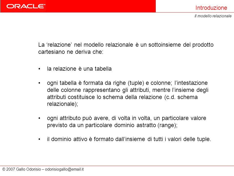 © 2007 Gallo Odorisio – odorisiogallo@email.it Introduzione Il modello relazionale La relazione nel modello relazionale è un sottoinsieme del prodotto