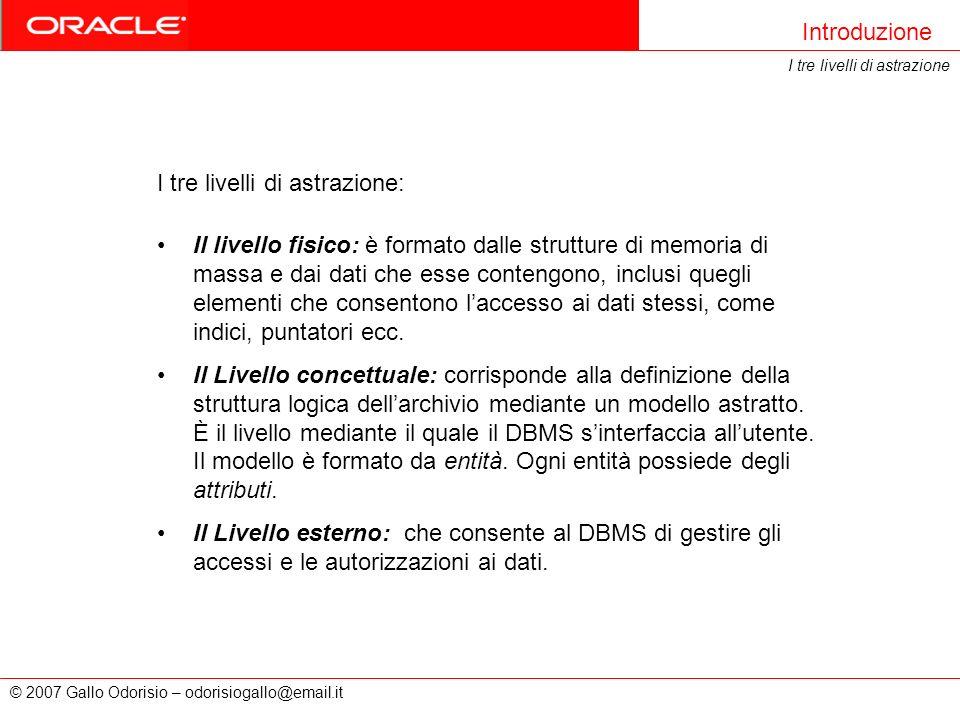 © 2007 Gallo Odorisio – odorisiogallo@email.it Il livello fisico: è formato dalle strutture di memoria di massa e dai dati che esse contengono, inclus