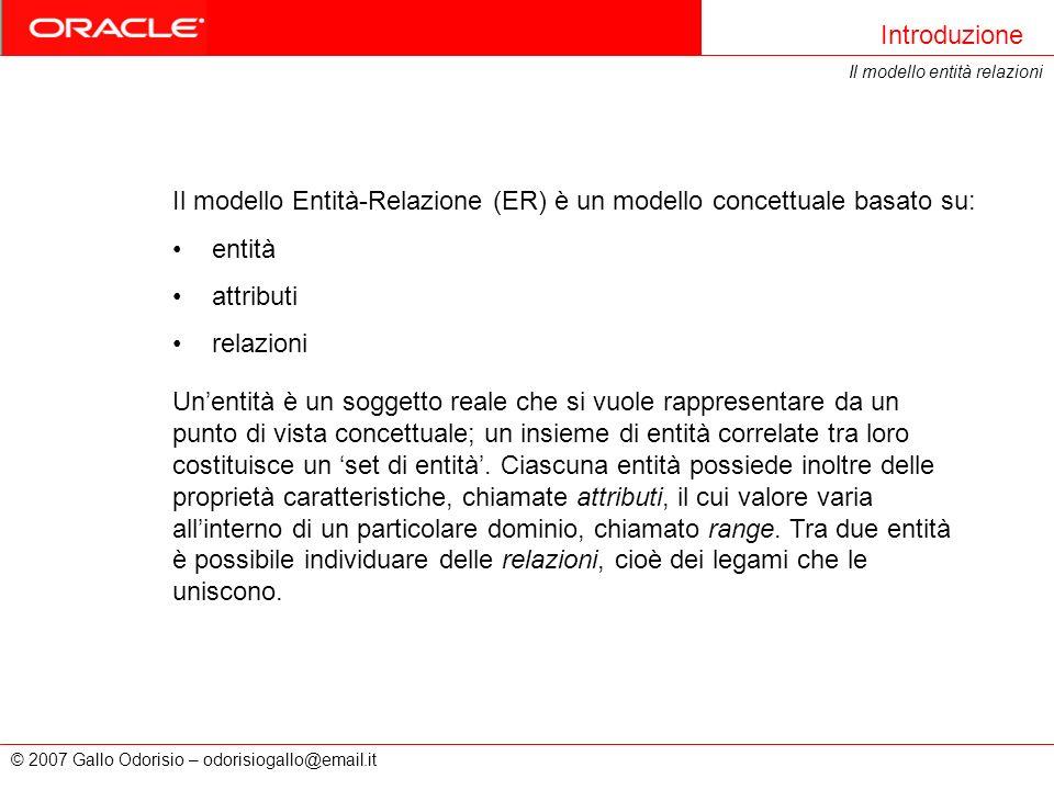 © 2007 Gallo Odorisio – odorisiogallo@email.it Il modello Entità-Relazione (ER) è un modello concettuale basato su: entità attributi relazioni Introdu