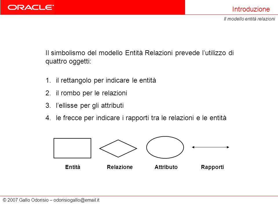 © 2007 Gallo Odorisio – odorisiogallo@email.it Introduzione Il modello entità relazioni Il simbolismo del modello Entità Relazioni prevede lutilizzo d