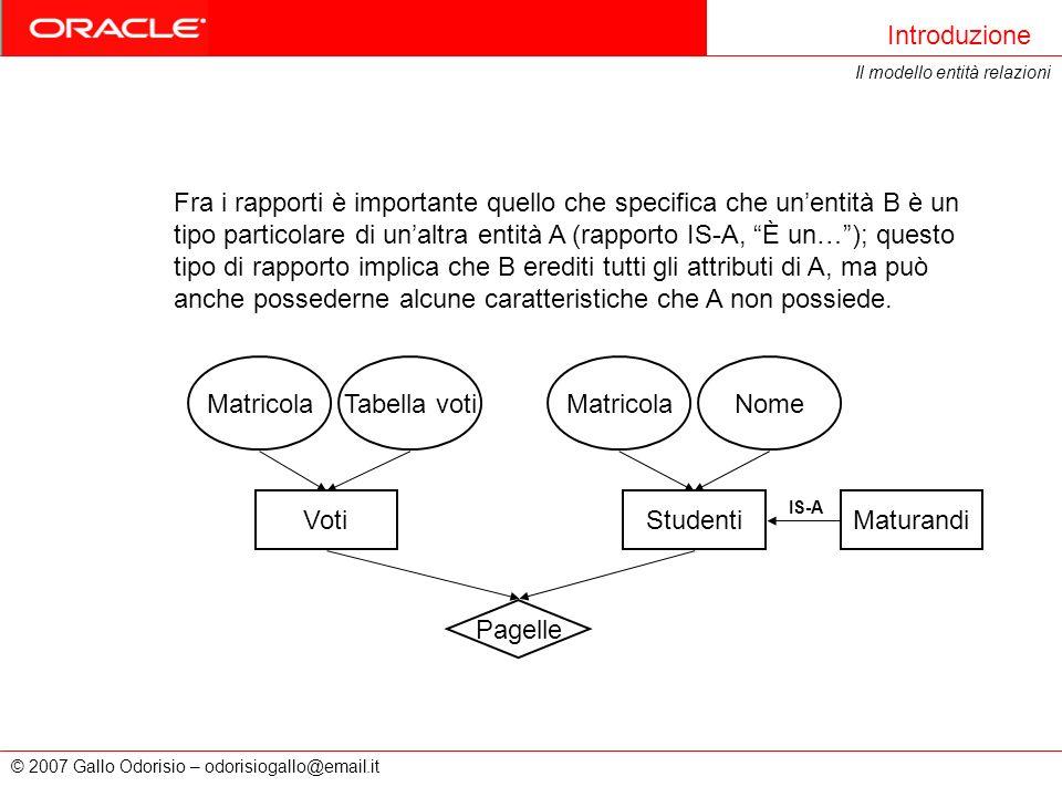 © 2007 Gallo Odorisio – odorisiogallo@email.it Introduzione Il modello entità relazioni Fra i rapporti è importante quello che specifica che unentità