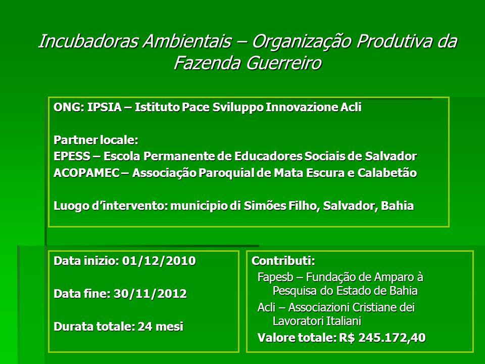 Obiettivo Generale: Crescita socio-economica delle comunità agricole della Regione Metropolitana di Salvador.