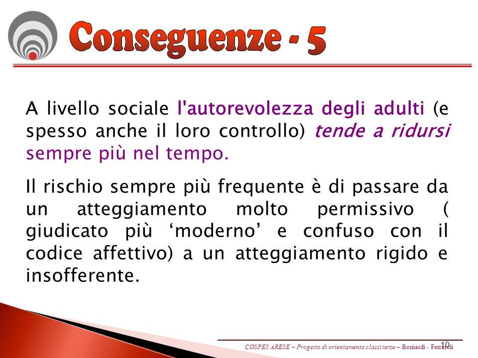 10 A livello sociale l autorevolezza degli adulti (e spesso anche il loro controllo) tende a ridursi sempre più nel tempo.