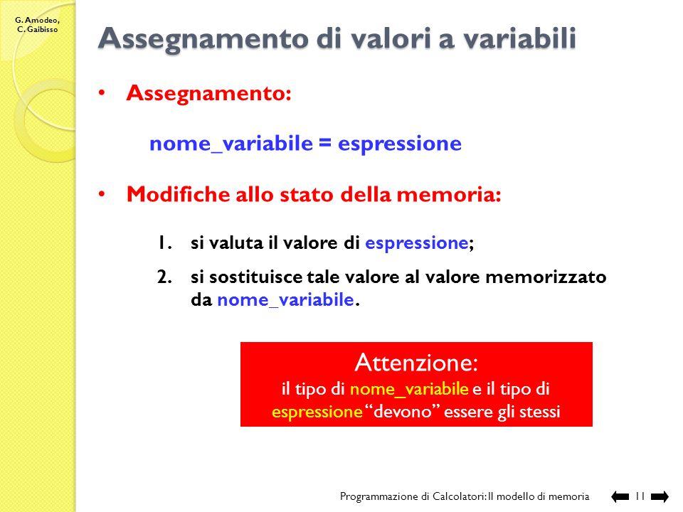 G. Amodeo, C. Gaibisso Rilascio di memoria allocata Programmazione di Calcolatori: Il modello di memoria10 avviene rendendo di nuovo disponibili le ce