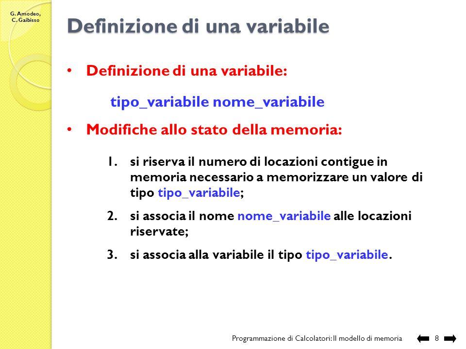 G. Amodeo, C. Gaibisso Stato della memoria Programmazione di Calcolatori: Il modello di memoria7 x x x x x x x x 2 A B 2A 2B 2 Stato 1 Stato 2 Stato 1