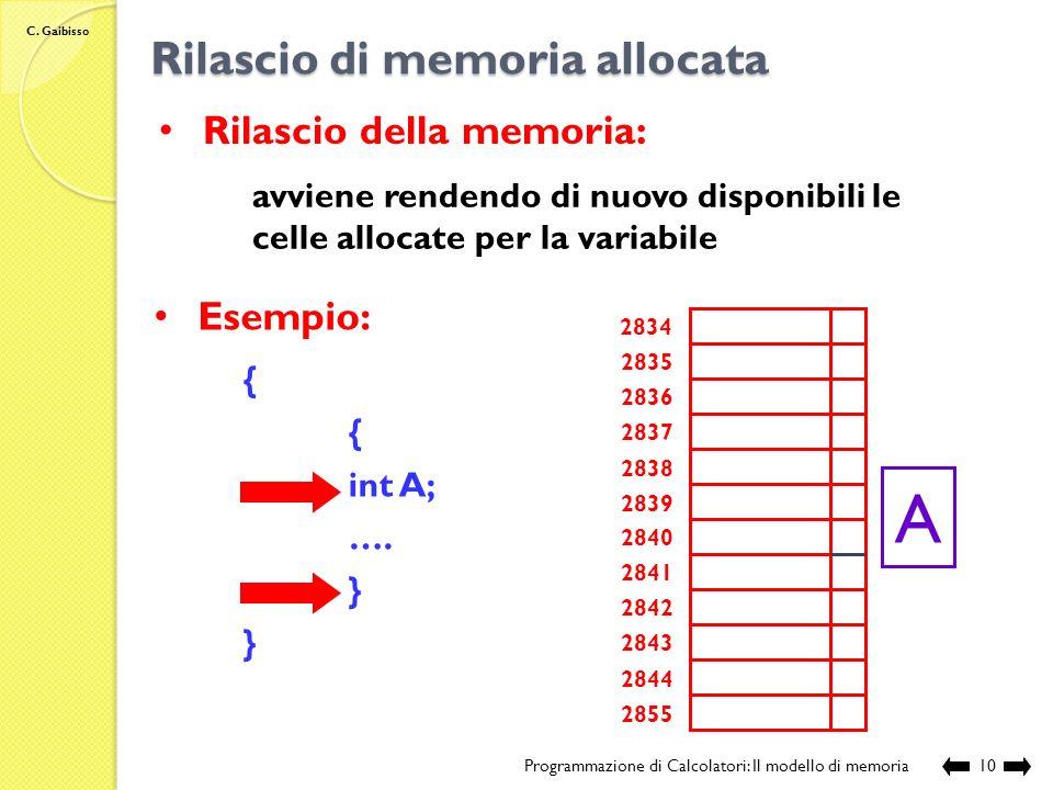 C. Gaibisso Definizione di una variabile Programmazione di Calcolatori: Il modello di memoria9 int y; 2834 2835 2836 2837 2838 2839 2840 2841 2842 284