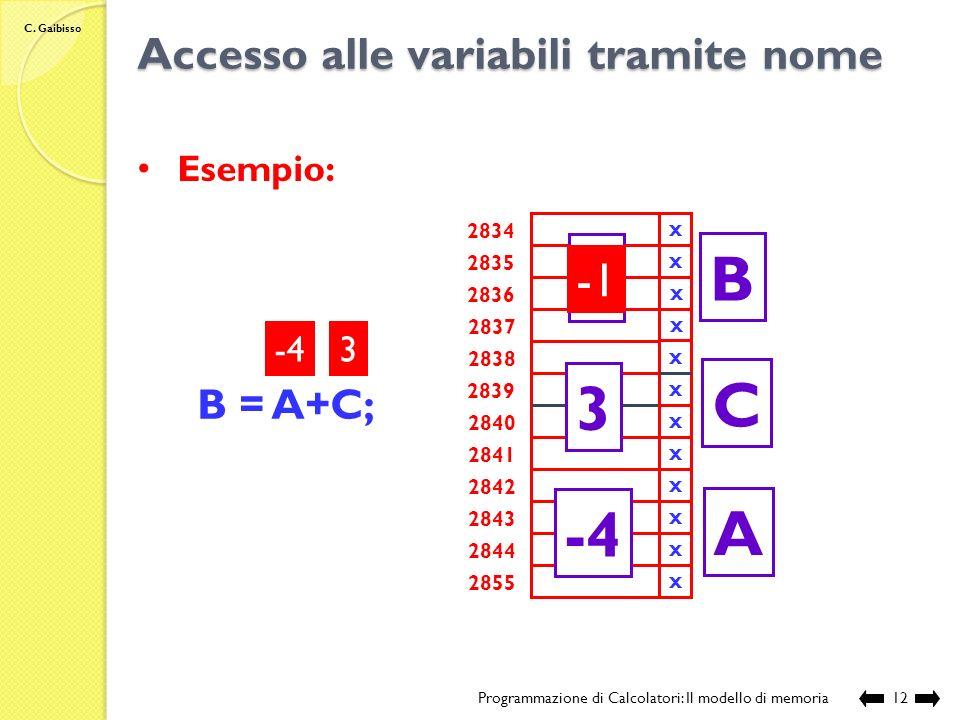 C. Gaibisso Assegnamento di valori a variabili Programmazione di Calcolatori: Il modello di memoria11 Assegnamento: nome_variabile = espressione Atten