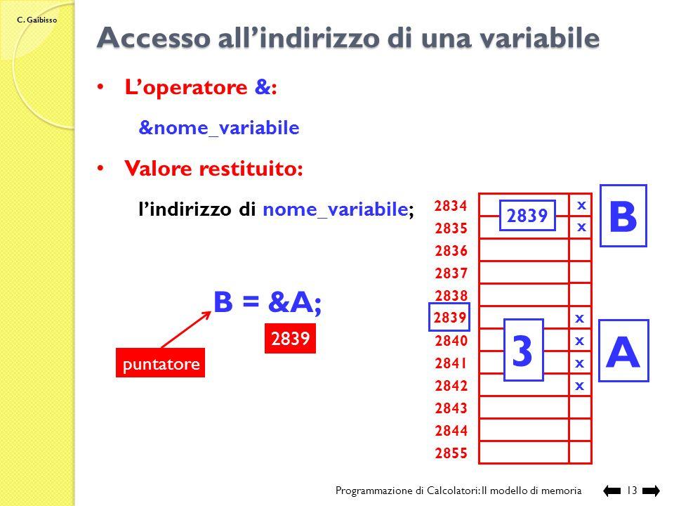 C. Gaibisso Accesso alle variabili tramite nome Programmazione di Calcolatori: Il modello di memoria12 Esempio: B = A+C; -43 2834 2835 2836 2837 2838