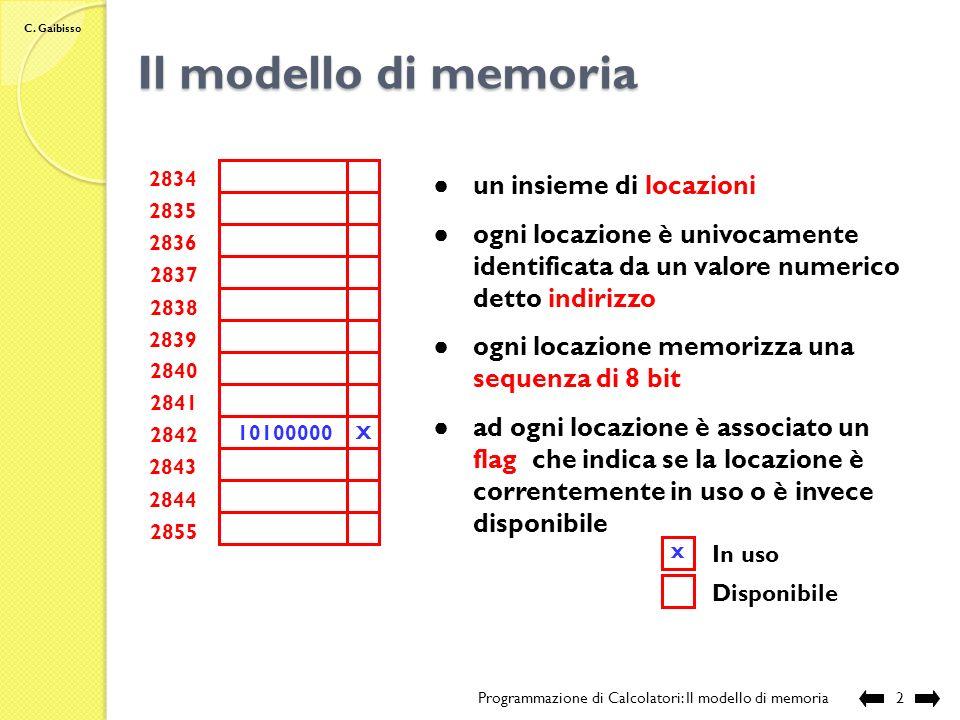 C. Gaibisso Programmazione di Calcolatori Lezione VIII Il modello di memoria Programmazione di Calcolatori: Il modello di memoria 1