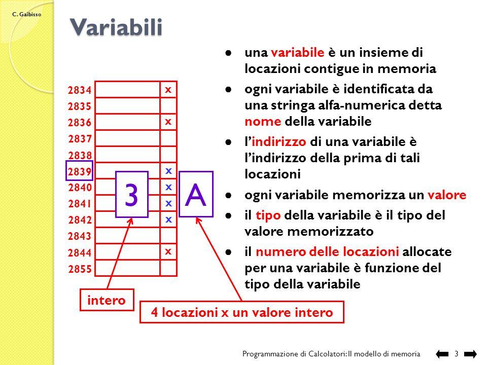 C. Gaibisso Il modello di memoria Programmazione di Calcolatori: Il modello di memoria2 ogni locazione memorizza una sequenza di 8 bit ogni locazione