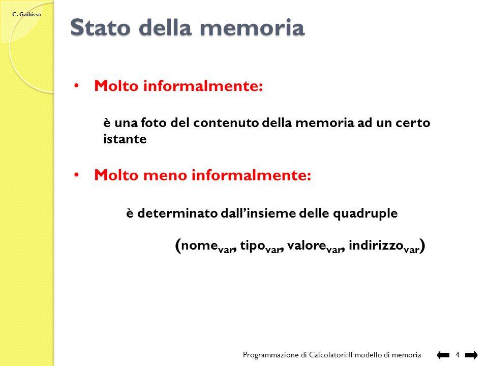 C. Gaibisso Variabili Programmazione di Calcolatori: Il modello di memoria3 una variabile è un insieme di locazioni contigue in memoria il numero dell