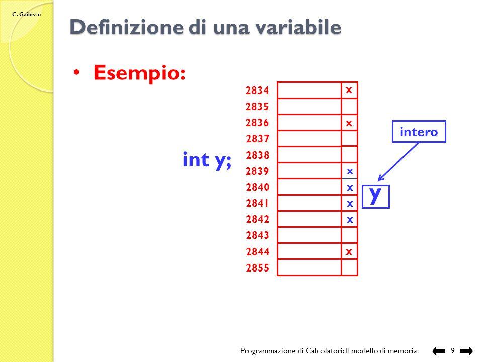 C. Gaibisso Definizione di una variabile Programmazione di Calcolatori: Il modello di memoria8 Definizione di una variabile: Modifiche allo stato dell