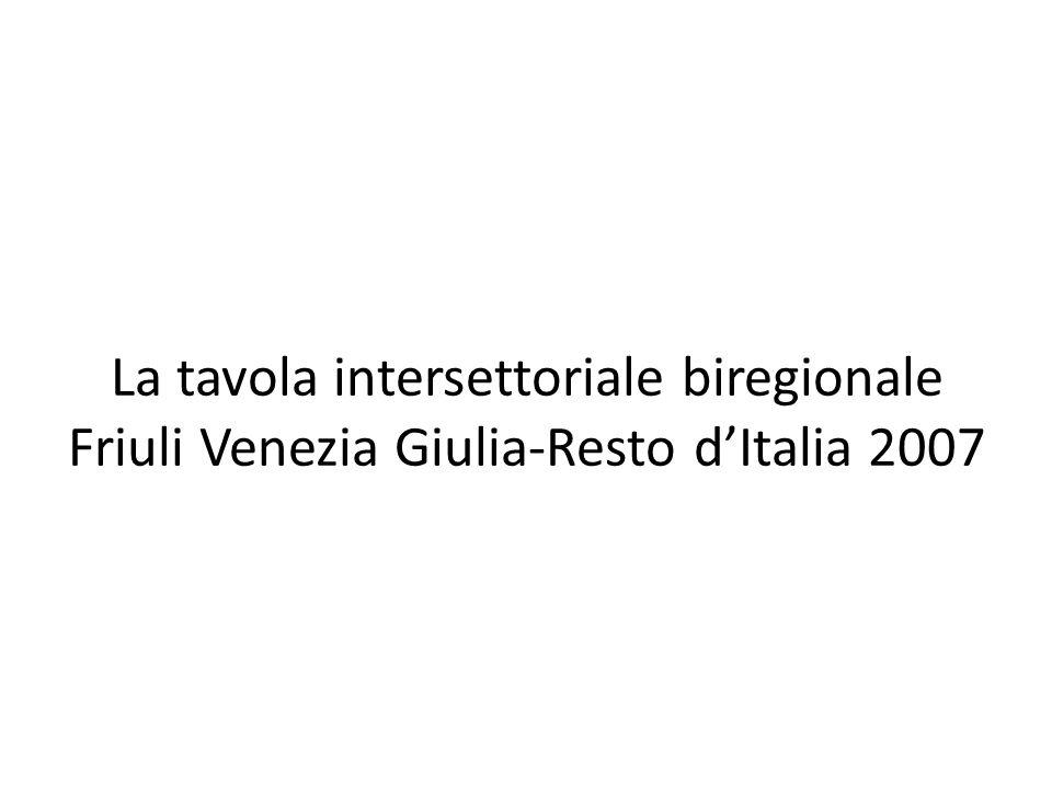 La tavola intersettoriale biregionale Friuli Venezia Giulia-Resto dItalia 2007