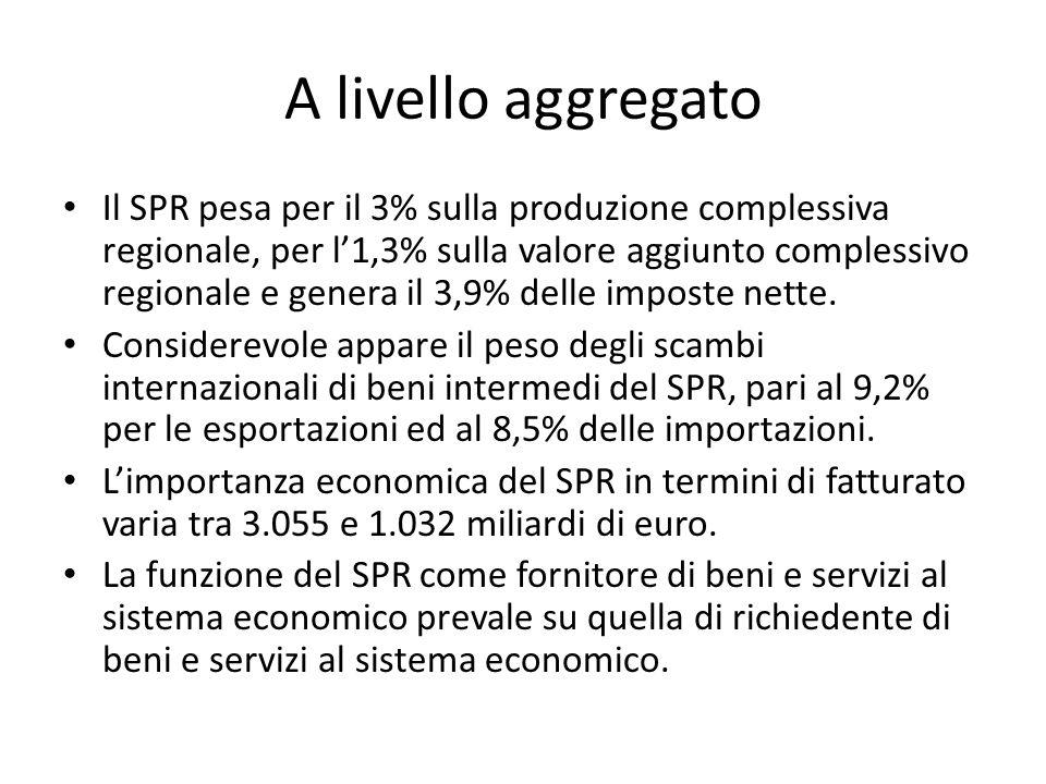 A livello aggregato Il SPR pesa per il 3% sulla produzione complessiva regionale, per l1,3% sulla valore aggiunto complessivo regionale e genera il 3,