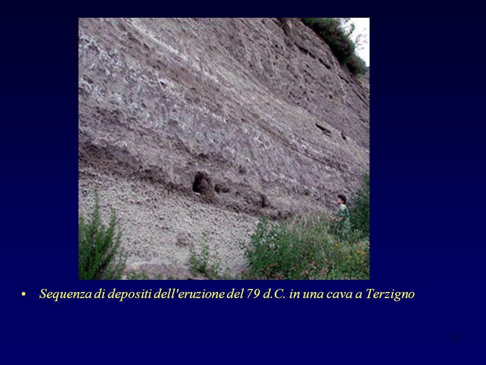 12 Sequenza di depositi dell eruzione del 79 d.C. in una cava a Terzigno