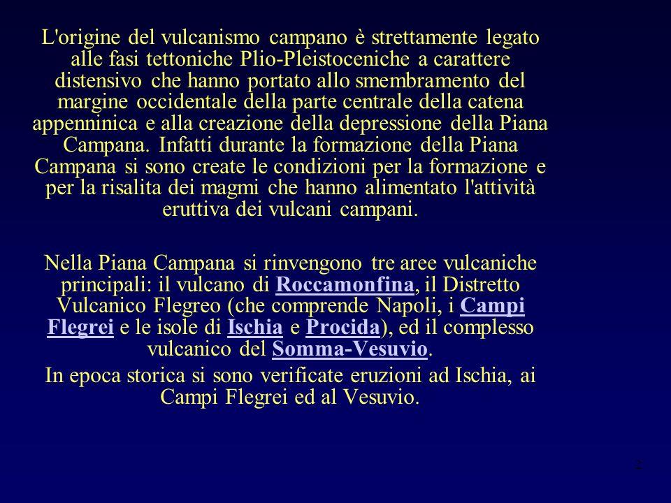 2 L origine del vulcanismo campano è strettamente legato alle fasi tettoniche Plio-Pleistoceniche a carattere distensivo che hanno portato allo smembramento del margine occidentale della parte centrale della catena appenninica e alla creazione della depressione della Piana Campana.