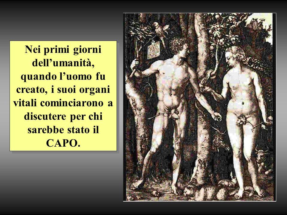 Nei primi giorni dellumanità, quando luomo fu creato, i suoi organi vitali cominciarono a discutere per chi sarebbe stato il CAPO.