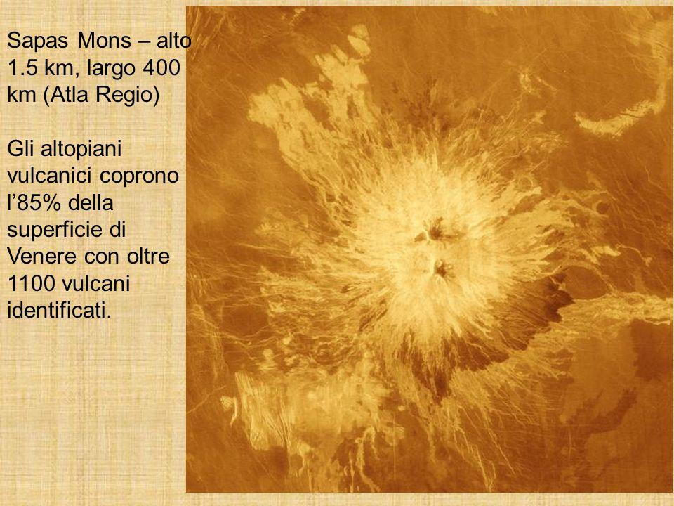 Sapas Mons – alto 1.5 km, largo 400 km (Atla Regio) Gli altopiani vulcanici coprono l85% della superficie di Venere con oltre 1100 vulcani identificat