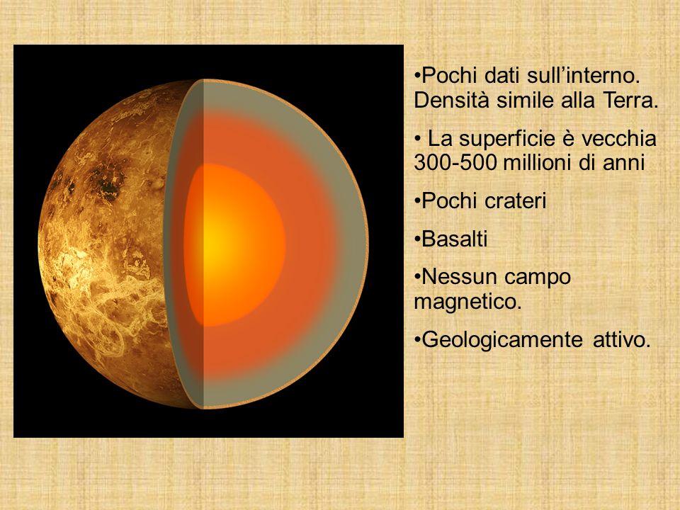 Pochi dati sullinterno. Densità simile alla Terra. La superficie è vecchia 300-500 millioni di anni Pochi crateri Basalti Nessun campo magnetico. Geol