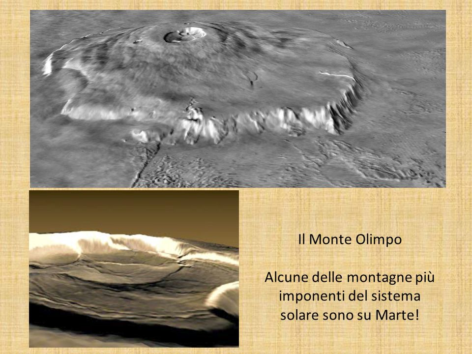 Il Monte Olimpo Alcune delle montagne più imponenti del sistema solare sono su Marte!