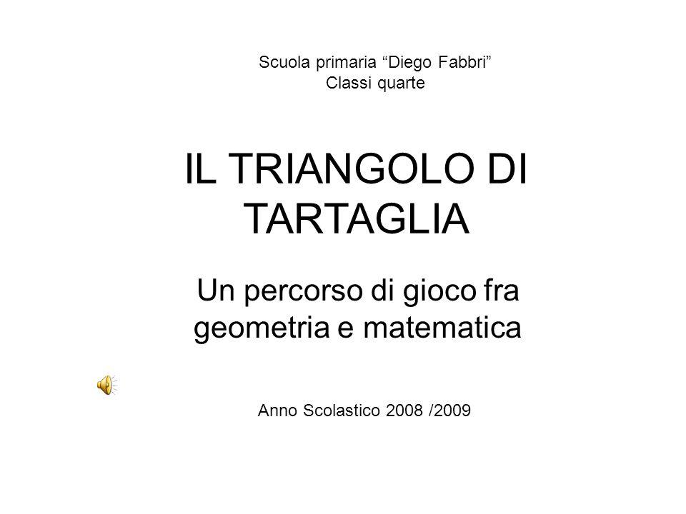 IL TRIANGOLO DI TARTAGLIA Un percorso di gioco fra geometria e matematica Scuola primaria Diego Fabbri Classi quarte Anno Scolastico 2008 /2009