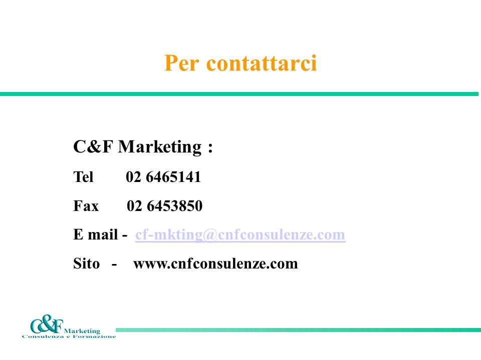 Per contattarci C&F Marketing : Tel 02 6465141 Fax 02 6453850 E mail - cf-mkting@cnfconsulenze.comcf-mkting@cnfconsulenze.com Sito - www.cnfconsulenze
