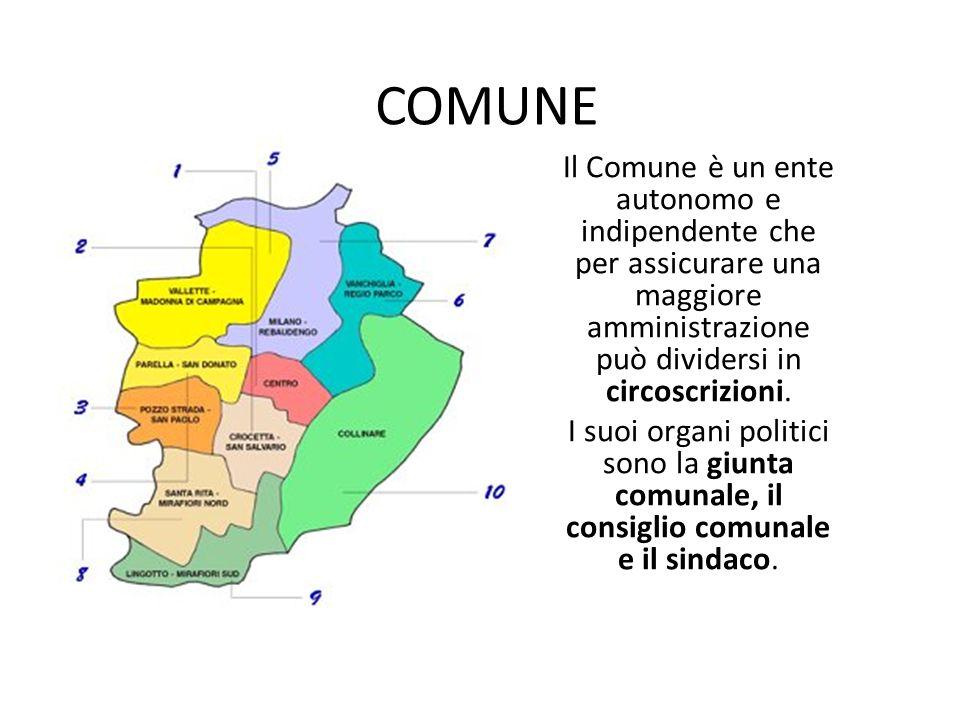 COMUNE Il Comune è un ente autonomo e indipendente che per assicurare una maggiore amministrazione può dividersi in circoscrizioni. I suoi organi poli