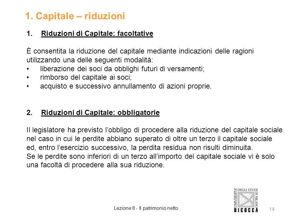 1. Capitale – riduzioni 1.Riduzioni di Capitale: facoltative È consentita la riduzione del capitale mediante indicazioni delle ragioni utilizzando una