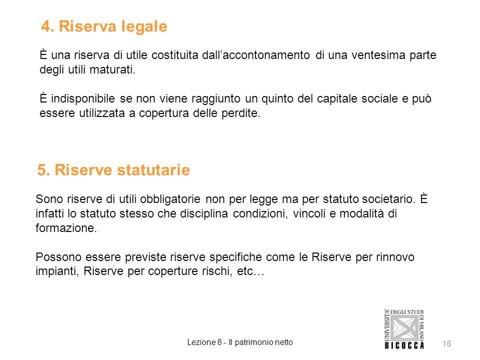 4. Riserva legale È una riserva di utile costituita dallaccontonamento di una ventesima parte degli utili maturati. È indisponibile se non viene raggi