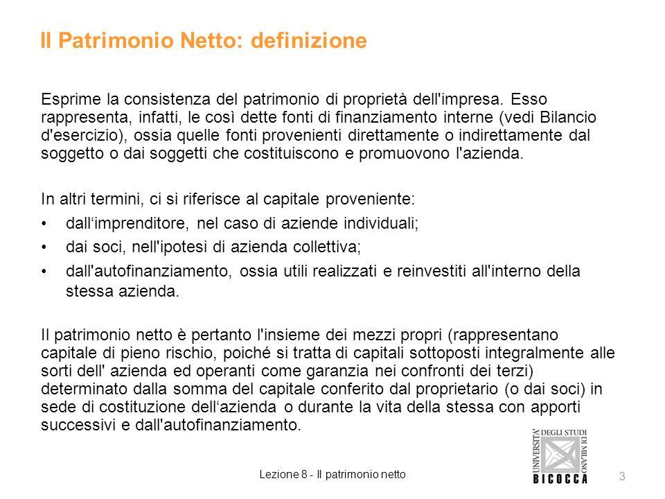 Il Patrimonio Netto: definizione Esprime la consistenza del patrimonio di proprietà dell'impresa. Esso rappresenta, infatti, le così dette fonti di fi