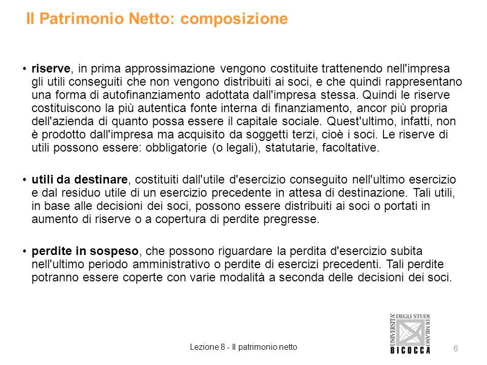 Il Patrimonio Netto: composizione riserve, in prima approssimazione vengono costituite trattenendo nell'impresa gli utili conseguiti che non vengono d