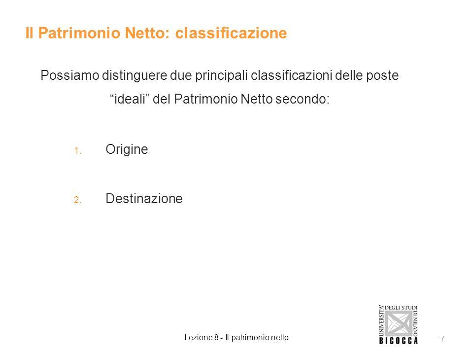 Possiamo distinguere due principali classificazioni delle poste ideali del Patrimonio Netto secondo: 1. Origine 2. Destinazione Il Patrimonio Netto: c