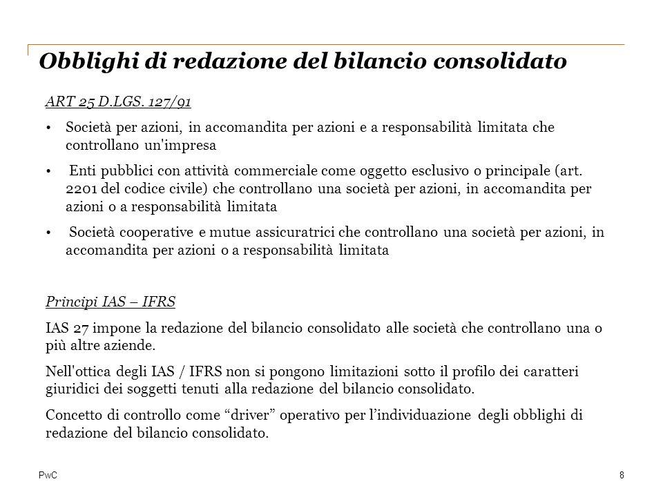 PwC8 Obblighi di redazione del bilancio consolidato ART 25 D.LGS. 127/91 Società per azioni, in accomandita per azioni e a responsabilità limitata che