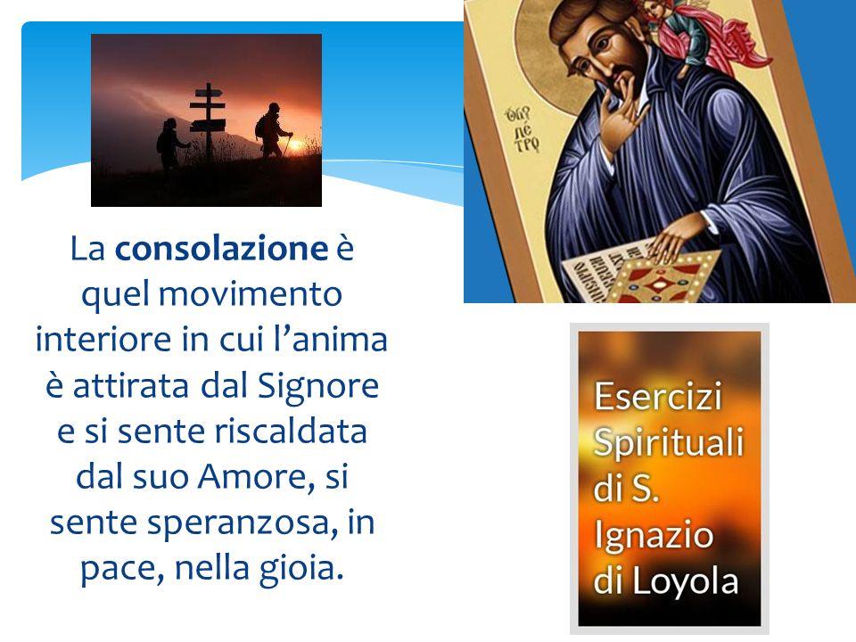 La consolazione è quel movimento interiore in cui lanima è attirata dal Signore e si sente riscaldata dal suo Amore, si sente speranzosa, in pace, n