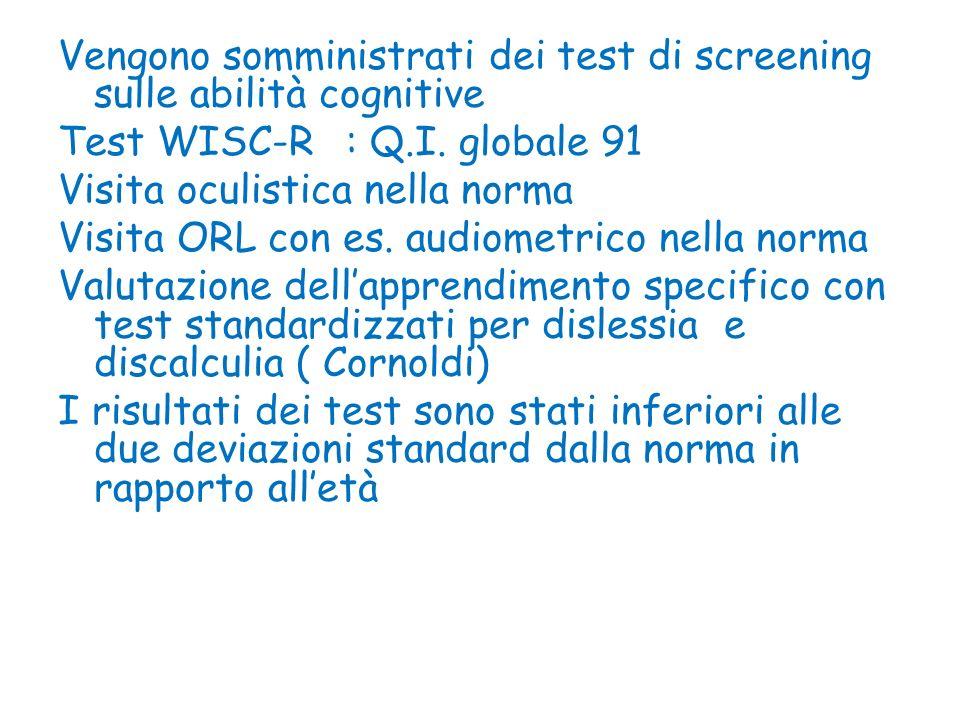 Vengono somministrati dei test di screening sulle abilità cognitive Test WISC-R : Q.I. globale 91 Visita oculistica nella norma Visita ORL con es. aud