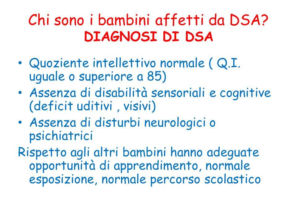 Chi sono i bambini affetti da DSA? DIAGNOSI DI DSA Quoziente intellettivo normale ( Q.I. uguale o superiore a 85) Assenza di disabilità sensoriali e c