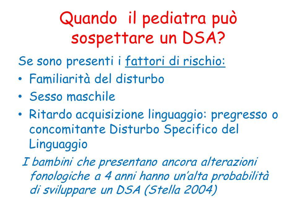 Quando il pediatra può sospettare un DSA? Se sono presenti i fattori di rischio: Familiarità del disturbo Sesso maschile Ritardo acquisizione linguagg