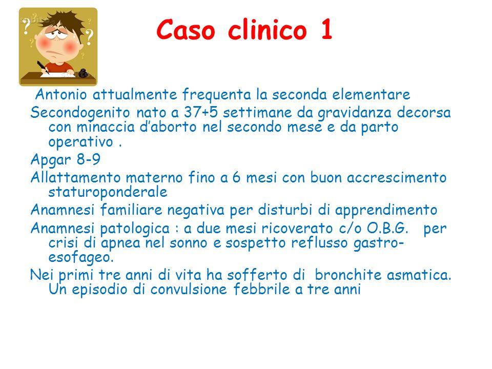 Caso clinico 1 Antonio attualmente frequenta la seconda elementare Secondogenito nato a 37+5 settimane da gravidanza decorsa con minaccia daborto nel