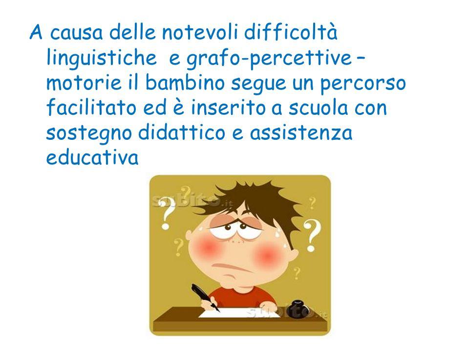 A causa delle notevoli difficoltà linguistiche e grafo-percettive – motorie il bambino segue un percorso facilitato ed è inserito a scuola con sostegn