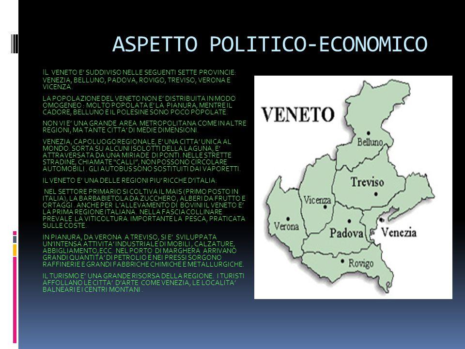 IL VENETO : laspetto fisico Il Veneto e una regione italiana di 4 960 336 abitanti, situata nellItalia nord-orientale. Confina a nord con il Trentino-