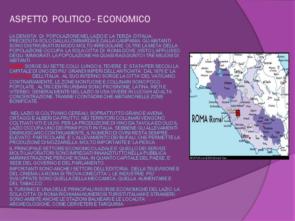 ASPETTO POLITICO - ECONOMICO LA DENSITA DI POPOLAZIONE NEL LAZIO E LA TERZA DITALIA, PRECEDUTA SOLO DALLA LOMBARDIA E DALLA CAMPANIA.