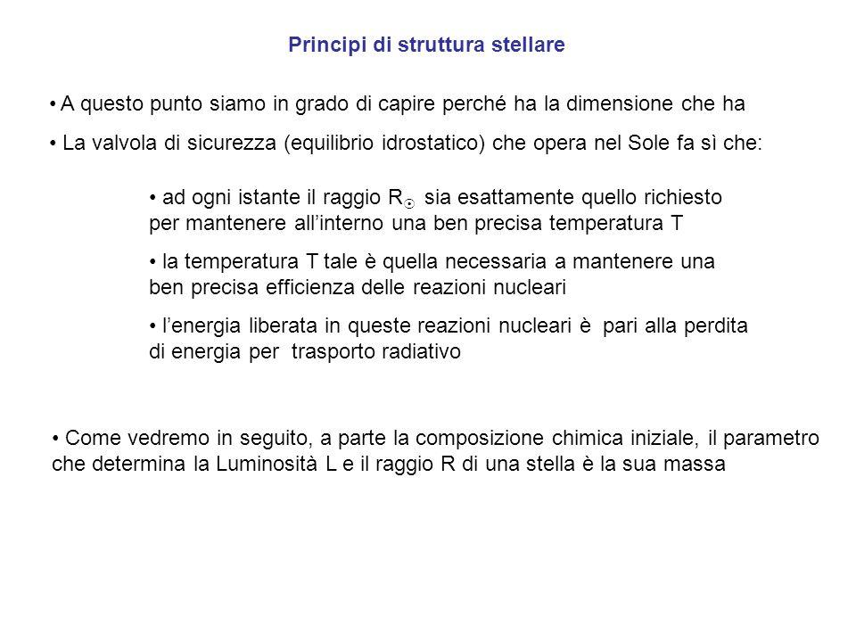 Principi di struttura stellare A questo punto siamo in grado di capire perché ha la dimensione che ha La valvola di sicurezza (equilibrio idrostatico)