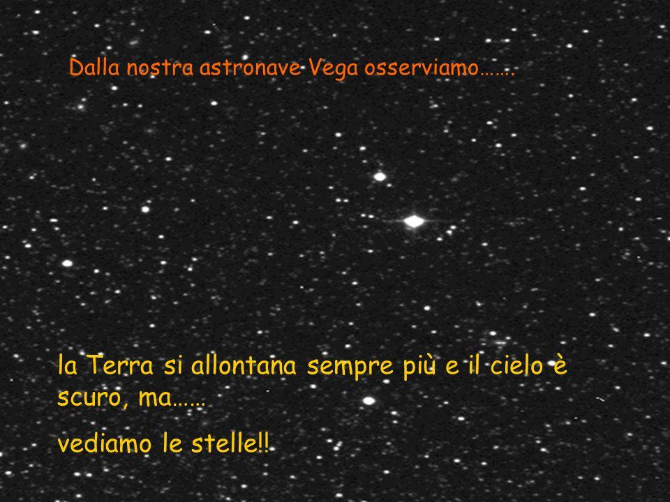Dalla nostra astronave Vega osserviamo……. la Terra si allontana sempre più e il cielo è scuro, ma…… vediamo le stelle!!