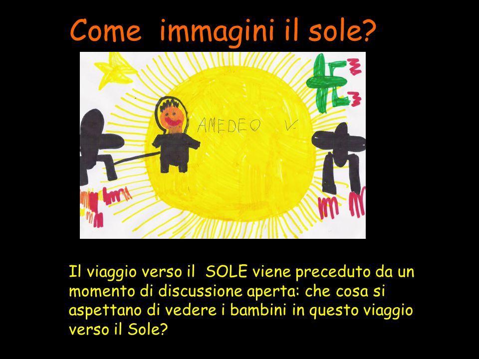 Come immagini il sole? Il viaggio verso il SOLE viene preceduto da un momento di discussione aperta: che cosa si aspettano di vedere i bambini in ques
