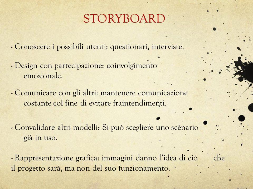 STORYBOARD - Conoscere i possibili utenti: questionari, interviste. - Design con partecipazione: coinvolgimento emozionale. - Comunicare con gli altri
